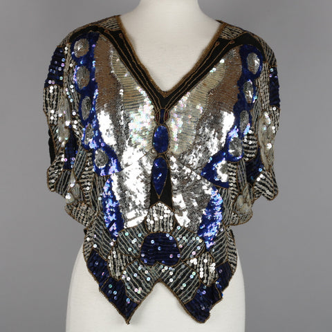 1970s sequinned and beaded butterfly top