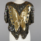 1980s gold sequin vintage butterfly top