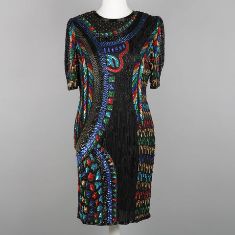 1980s beaded and sequinned column dress