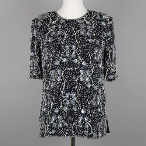 1980s Frank Usher bow design beaded top