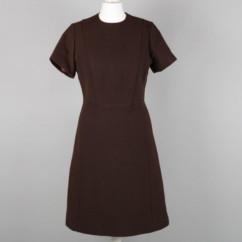 1960s chocolate brown vintage shift dress