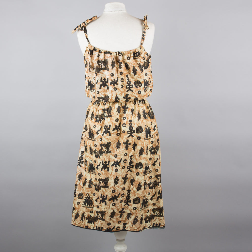 1980s tribal print vintage sundress