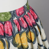 1950s brush stroke print vintage skirt