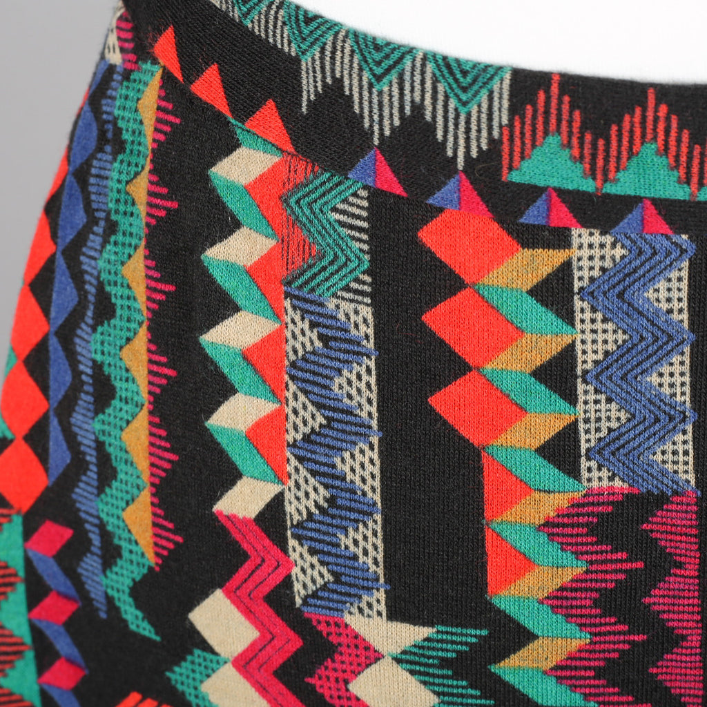 1970s abstract zig-zag pattern vintage skirt