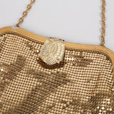 1940s gold mesh evening bag by Whiting and Davis