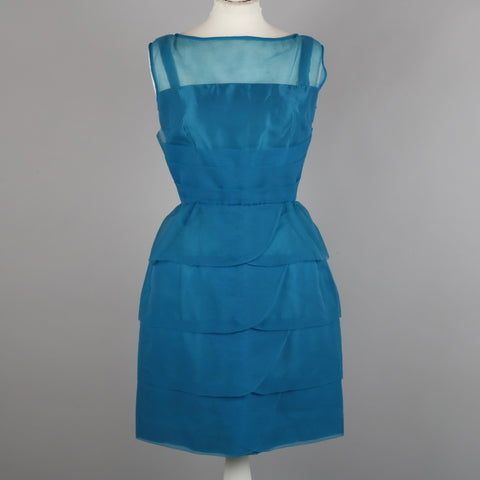 1950s blue chiffon cocktail dress by Blanes