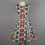 1950s bold graphic print vintage dress