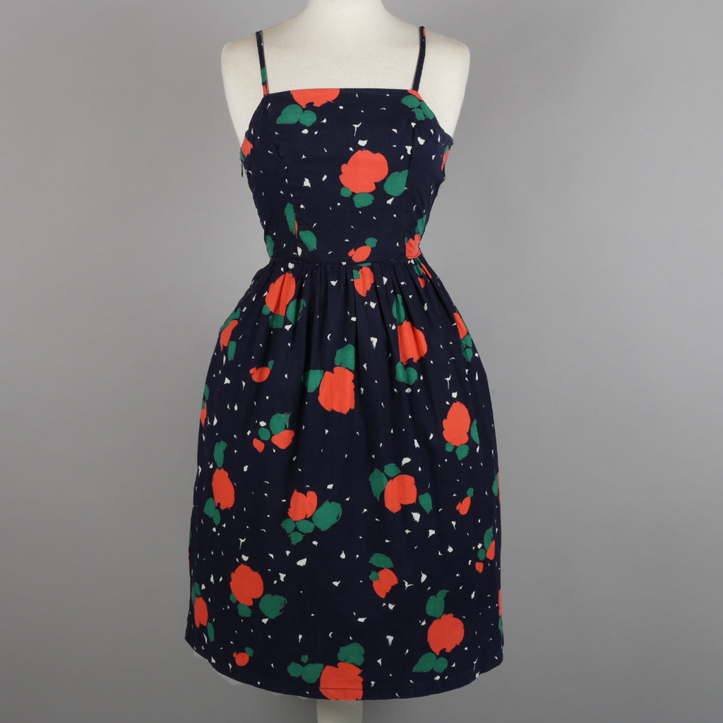 1950s abstract print vintage cocktail dress