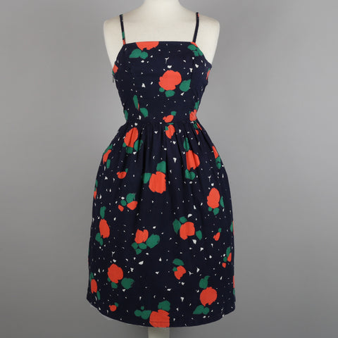 1950 abstract print vintage cocktail dress