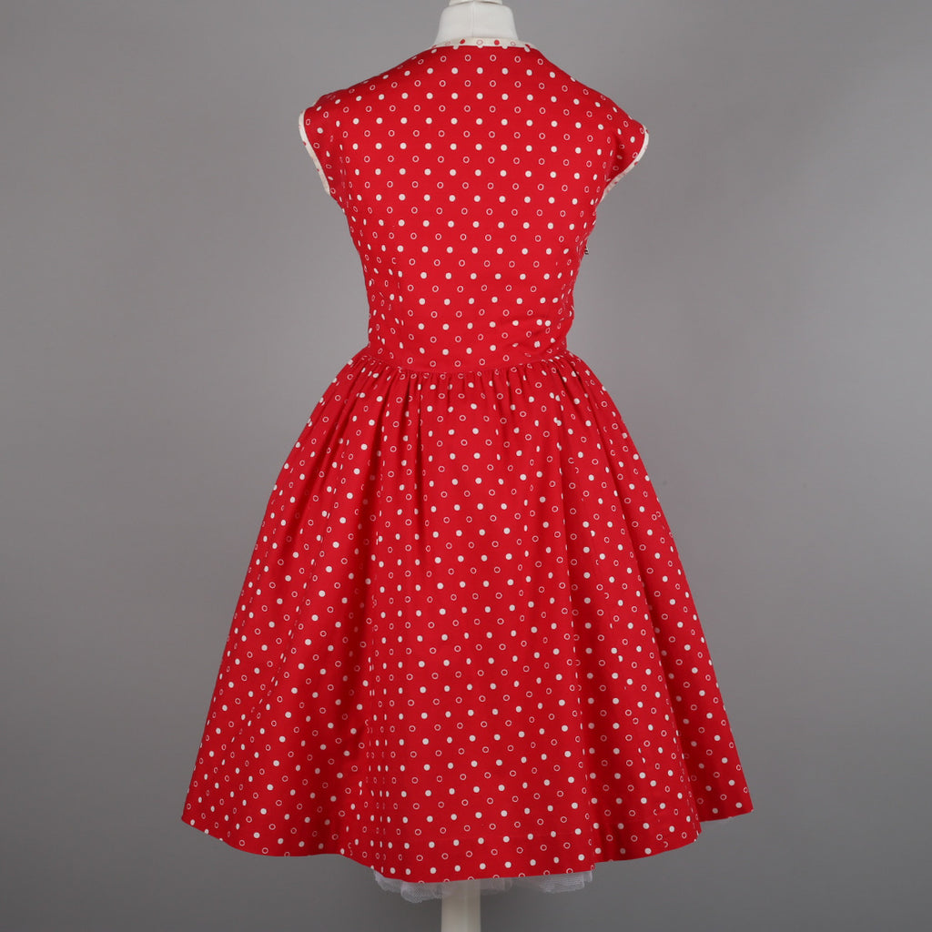 1950s red polkadot vintage dress