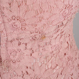 1950s dusky pink lace vintage cocktail dress