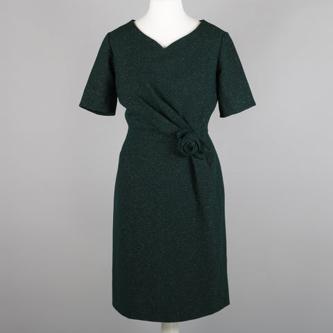 1950s green and gold vintage cocktail dress