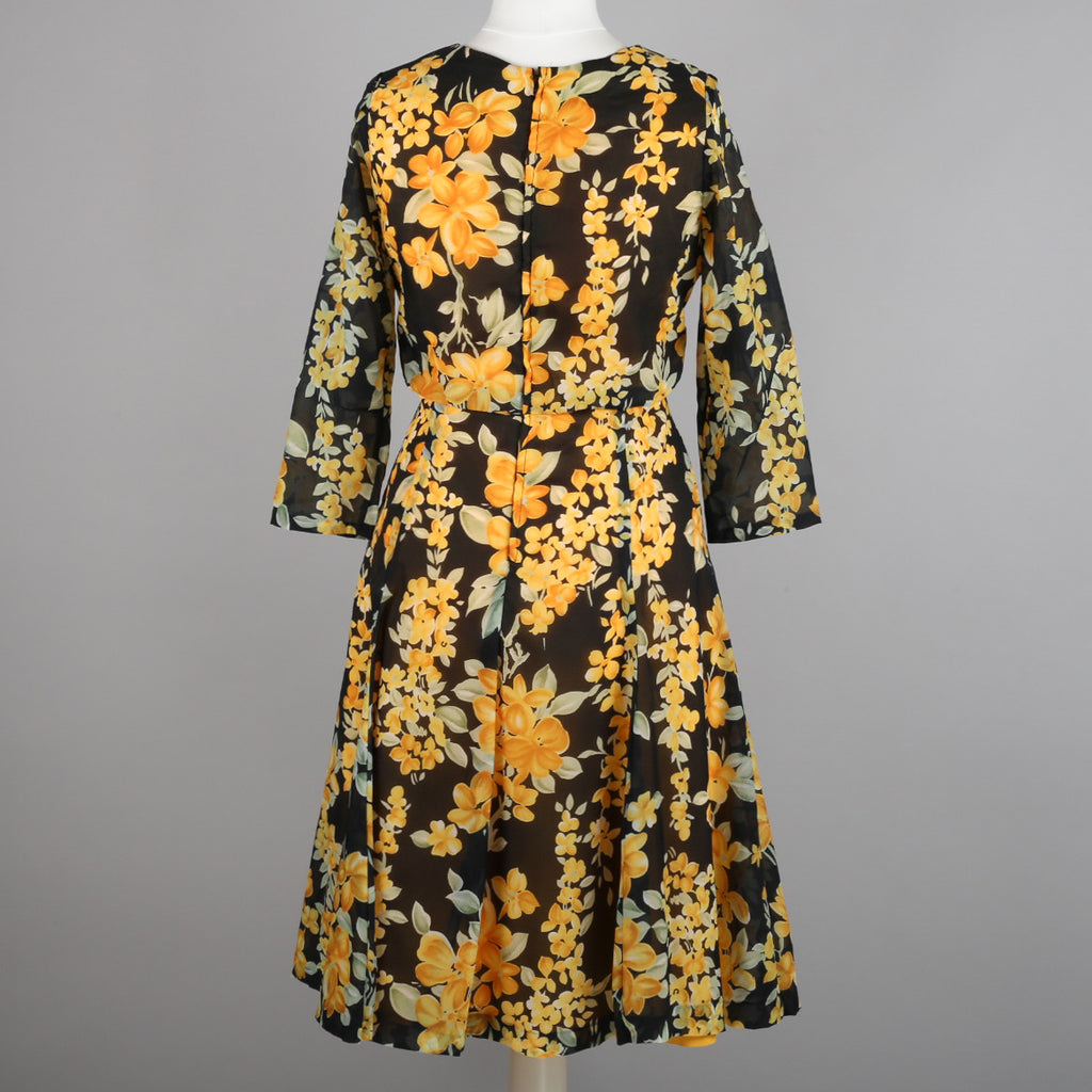 1960s floral chiffon dress by Carnegie of London