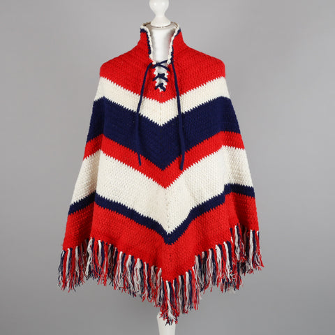 1960s crocheted vintage poncho