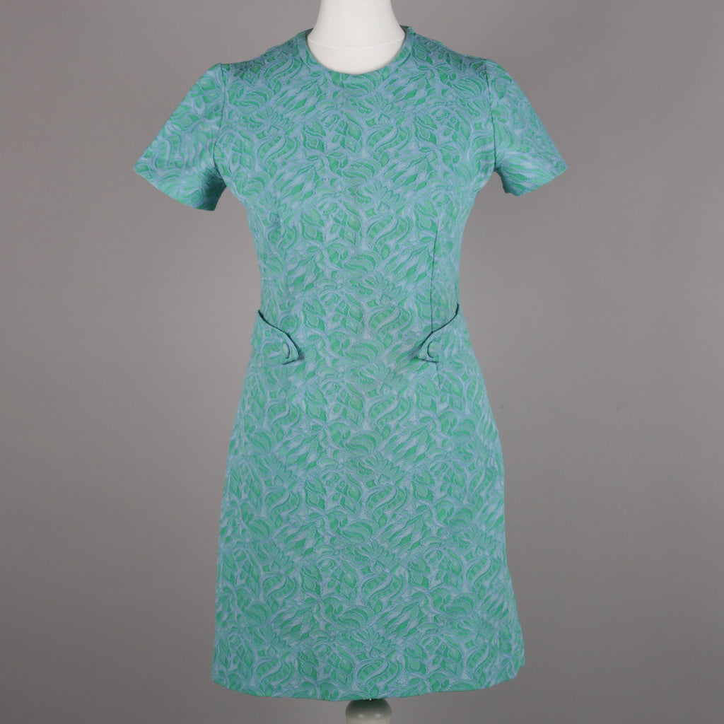 1960s crimplene fabric vintage shift dress