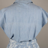 1980s chambray cotton vintage midi dress