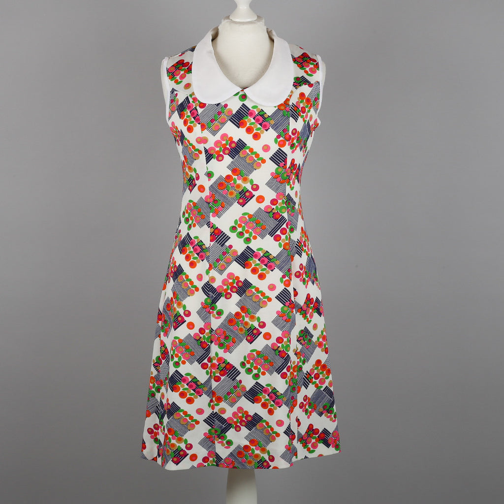 1960s abstract floral vintage shift dress
