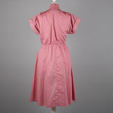 1980s pink ditsy print vintage dress