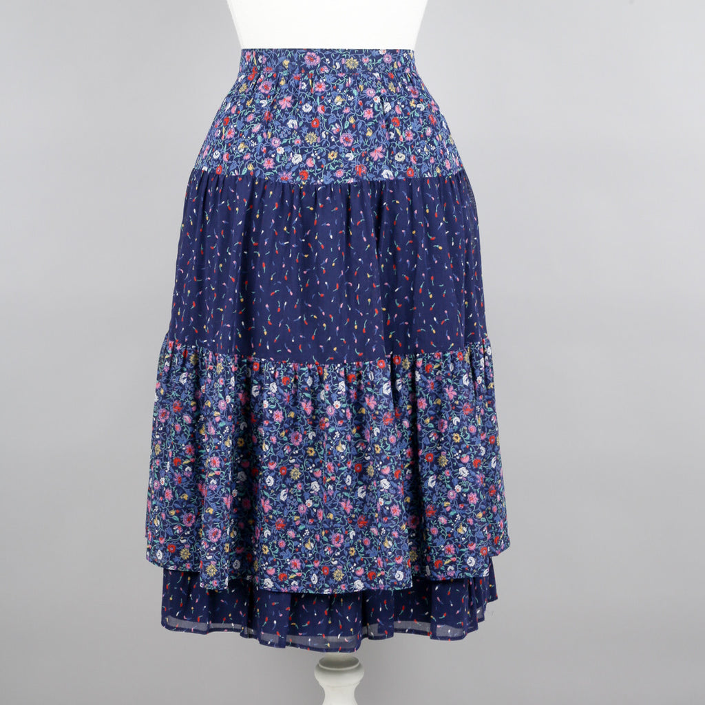 1970s ditsy print tiered vintage skirt