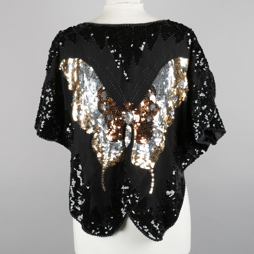 1980s sequinned vintage butterfly top