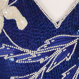 1980s blue and cream vintage sequinned dress