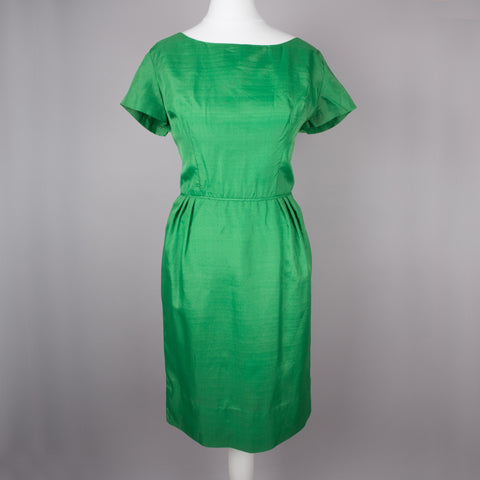 1950s emerald green vintage cocktail dress