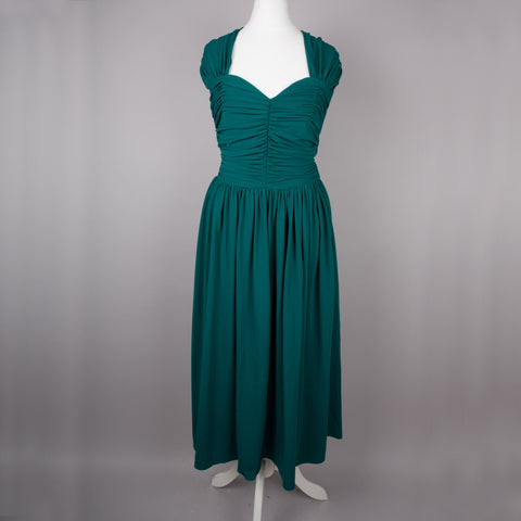 1970s does 40s racing green gown by Frank Usher