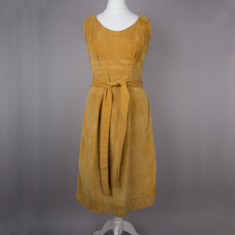 1970s mustard corduroy vintage pinafore dress