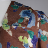 1950s abstract floral silk vintage dress