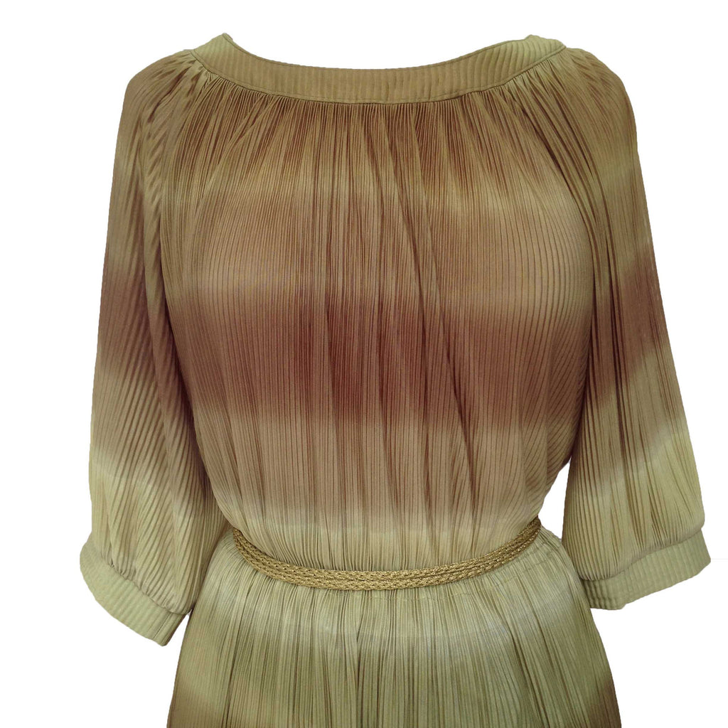 1980s crinkle pleat vintage dress