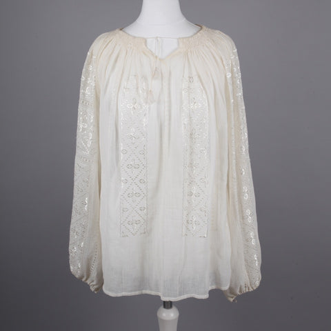 1970s cream cheesecloth boho blouse