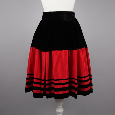 1980s black velvet and red silk evening skirt