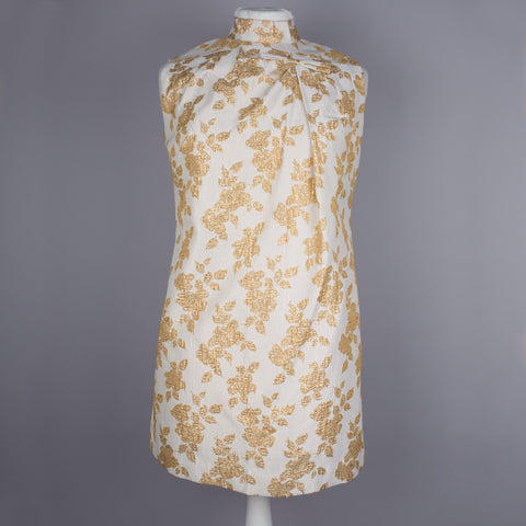 1960s gold brocade vintage mini dress