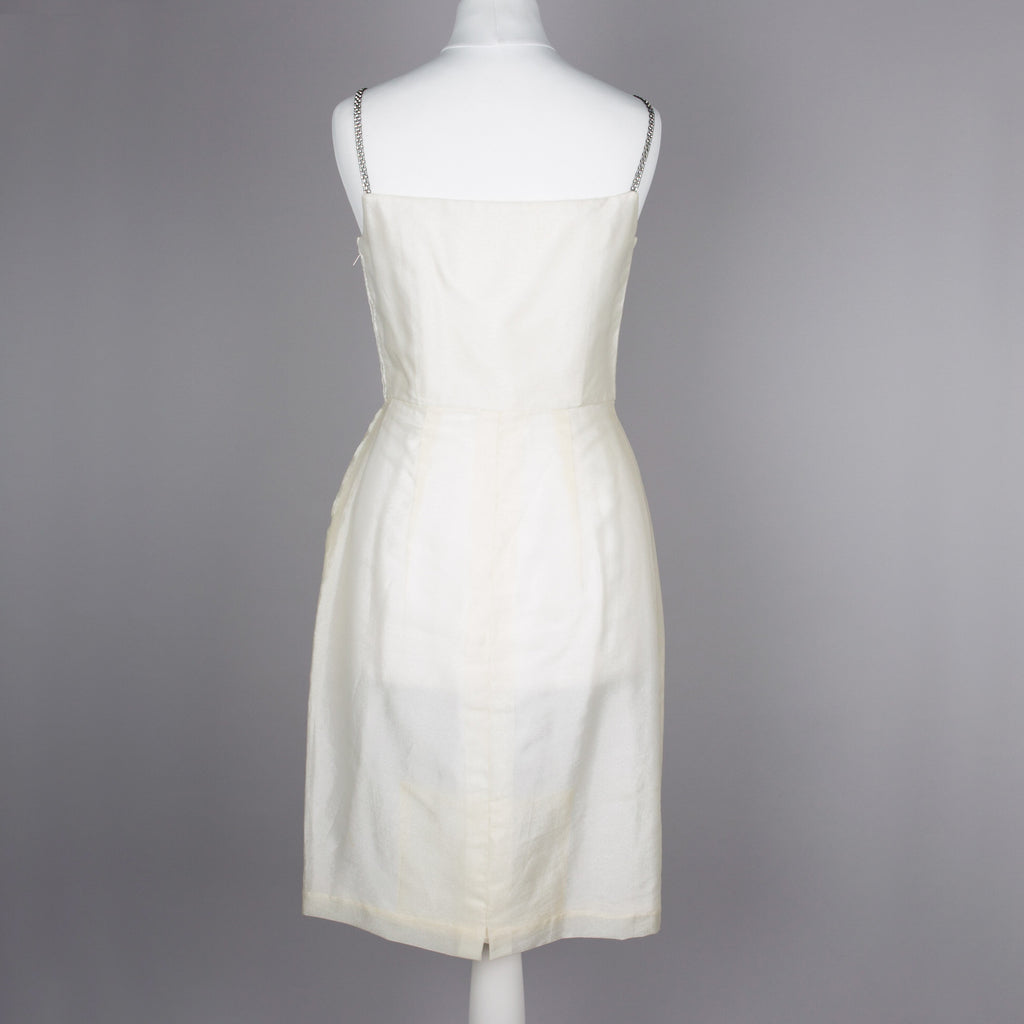 1950s shimmering cream vintage cocktail dress