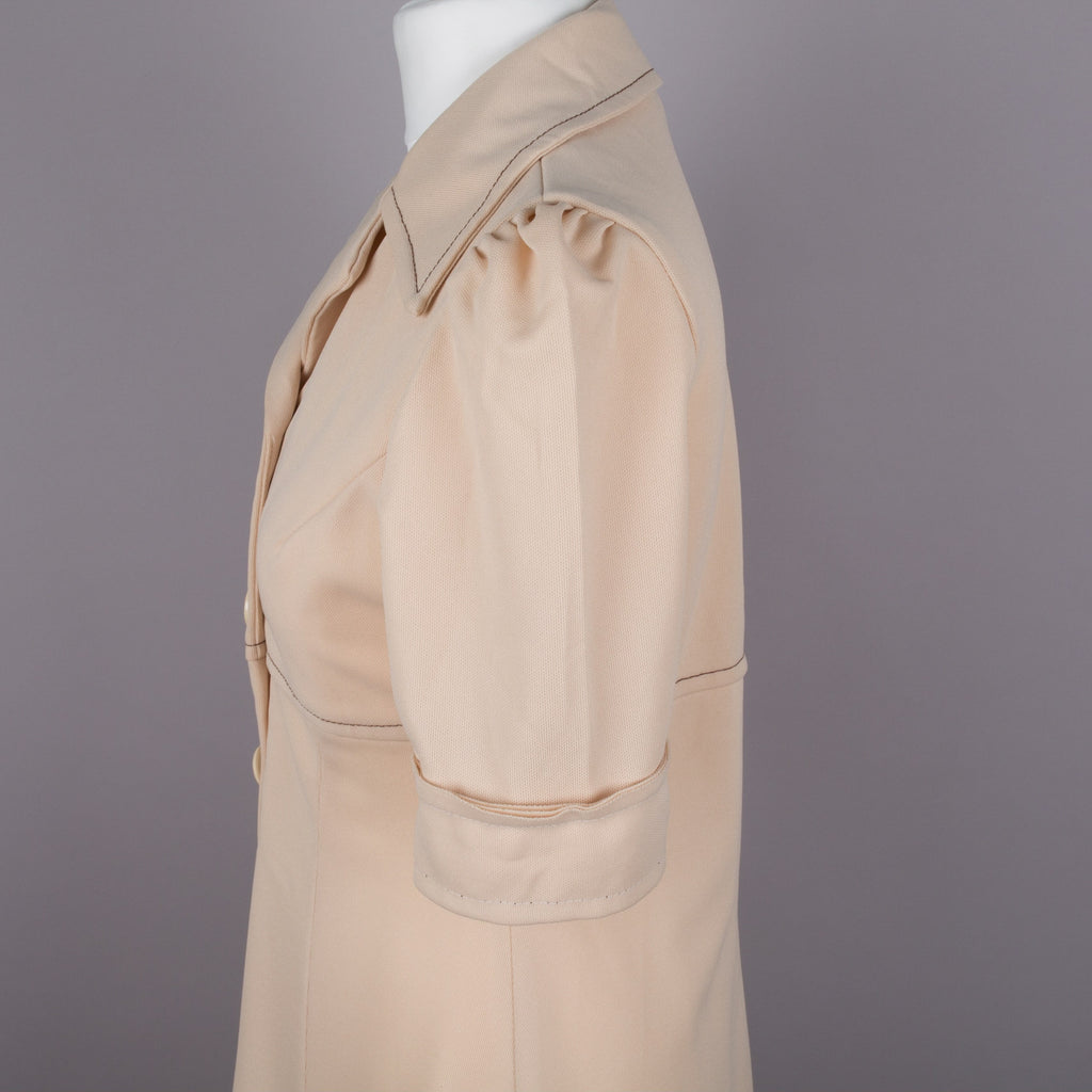 1970s button through vintage coat dress