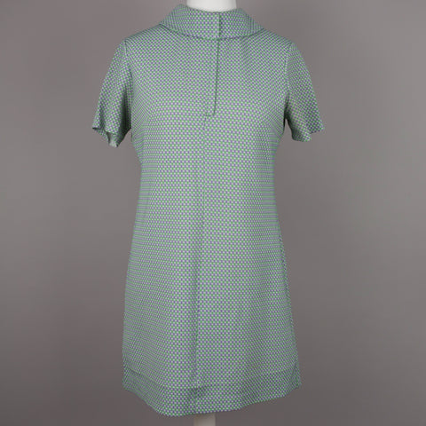 1960s green and lilac vintage shift dress
