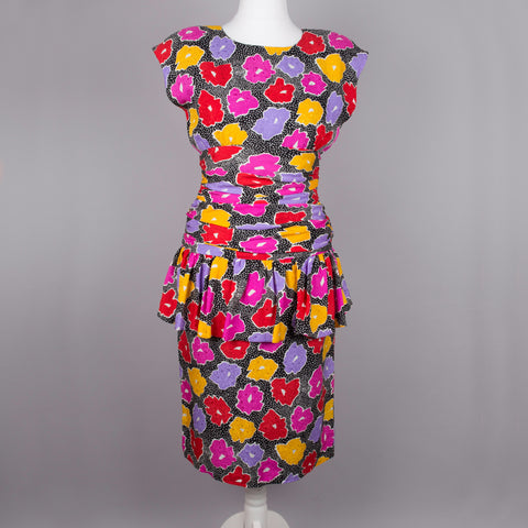1980s colourful cocktail dress by Frank Usher