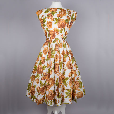 1950s brown floral silky vintage party dress