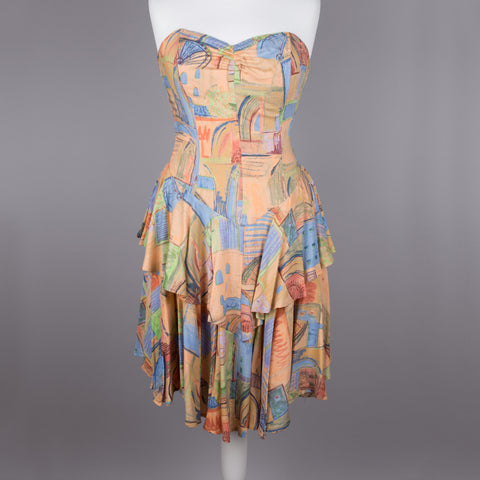 1980s strapless vintage ra-ra dress
