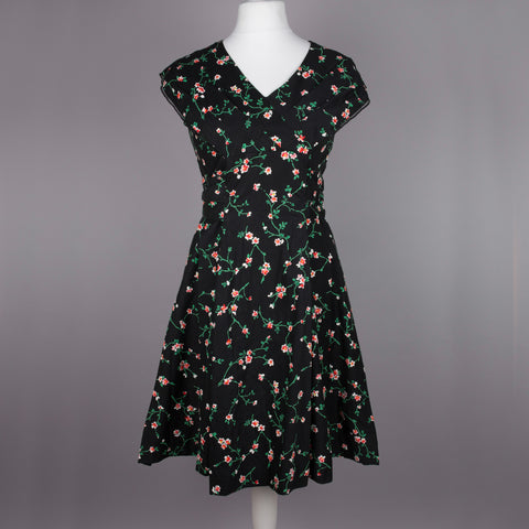 1950s floral print shawl collar vintage tea dress