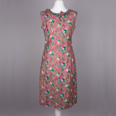1960s brown floral vintage wiggle dress