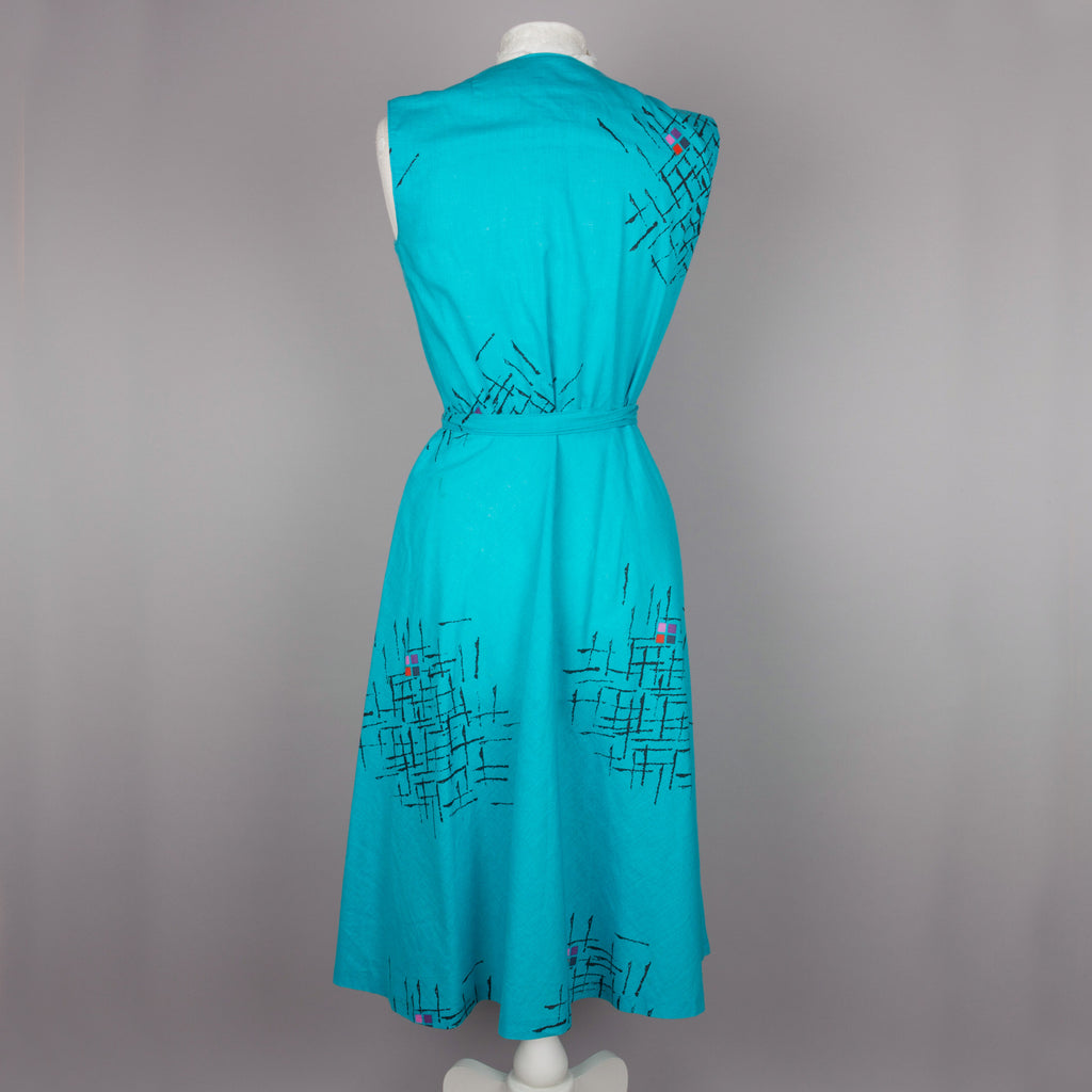 1980s turquoise vintage wrap midi dress