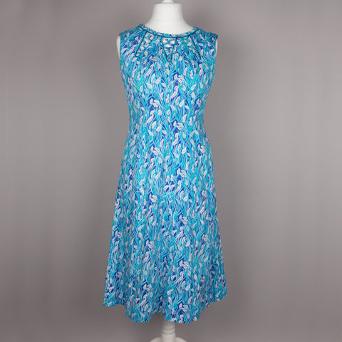 1980s blue cotton vintage fit and flare dress