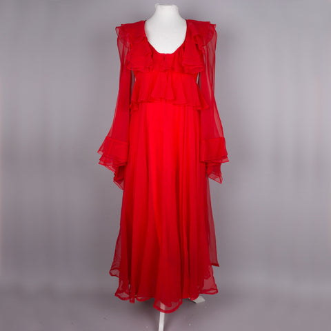 1960s breathtaking red hostess dress by Jean Varon