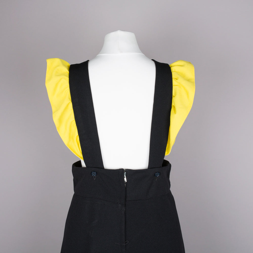 1970s black and yellow vintage maxi pinafore dress