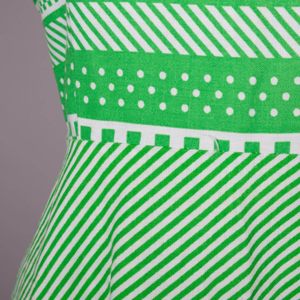 1970s green striped cotton vintage dress