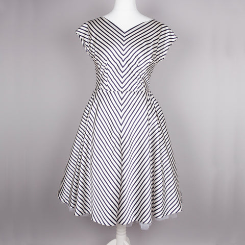 1950s chevron striped vintage party dress