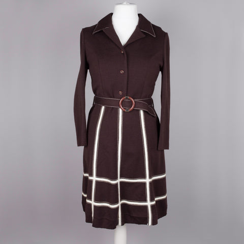 1960s brown Courtelle vintage shirt waister dress