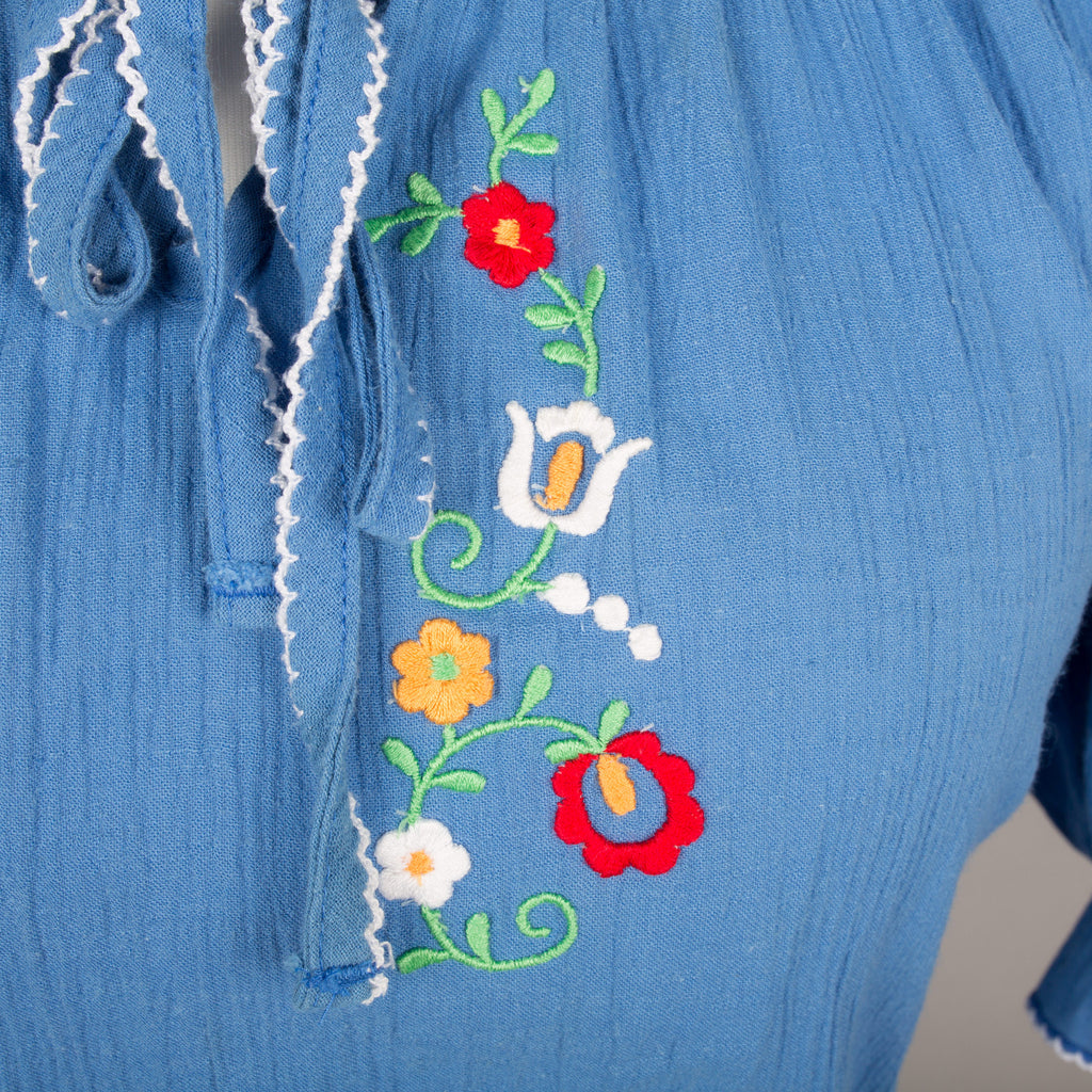 1970s blue cheesecloth embroidered dress