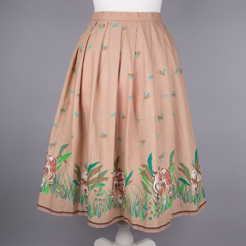 1970s tiger motive vintage skirt